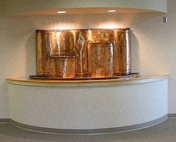 Copper Fountains - Custom Piece for Skagit Island Orthopedics (4' high x 7' wide x 2' deep)